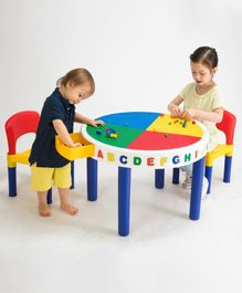 Babycenter India 2 In 1 Activity Table and Chairs With Block Set - Multicolor