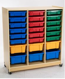 Babycenter India Wood Cabinet With 24 Storage Trays - Multicolor
