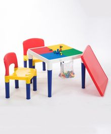 Babycenter india 2 in 1 Block Activity Table With 2 Chair Set - Multicolor