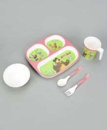 Masha and the Bear Table Wares Set of 5 - Green Pink