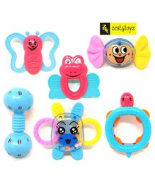 Zest 4 Toyz Teether Cum Rattle Toys Pack of 6 - Multicolor