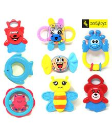 Zest 4 Toyz Teether Cum Rattle Toys Pack of 8 - Multicolor