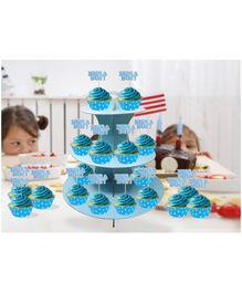 Amfin Combo Cupcake Stand Cupcake Wrapper & Cupcake Topper Blue - Pack of 37