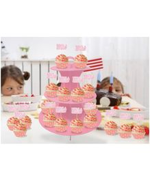 Amfin Combo Cupcake Stand Cupcake Wrapper & Cupcake Topper Pink - Pack of 37