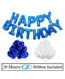 Amfin Happy Birthday Banner With Foil Balloon Decoration Combo Set White Blue - Pack of 53