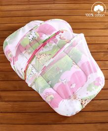 Babyhug 100% Cotton Bedding Set with Mosquito Net Jungle Print - Pink