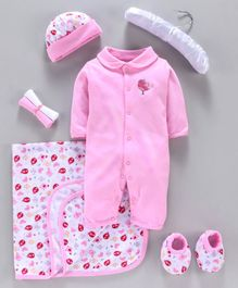 Mee Mee Infant Clothing Gift Set Bird Embroidery Pack of 7 - Pink White
