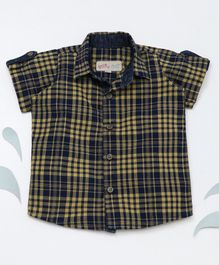 Knotty Kids Half Sleeves Checked Shirt - Yellow