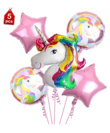 Party Propz Unicorn Theme Foil Balloons Pink - Pack of 5