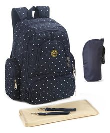 T-Bags Backpack Diaper Bag Polka Dot Print - Blue