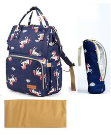 Bagsinfinitee Backpack Unicorn Print Diaper Bag - Blue