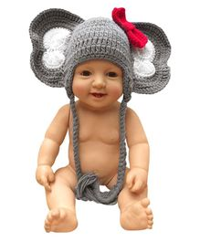 Bembika Knitted Crochet Elephant Cap Photography Prop - Grey