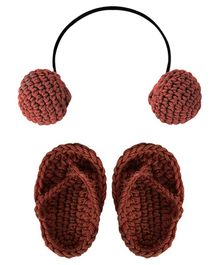 Bembika Knitted Crochet Headphone And Flip Flops - Brown