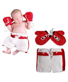 Bembika Crochet Knitted Boxing Shorts And Gloves Photography Props - Red White