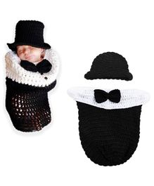 Bembika Knitted Cap With Cocoon Wrap 2 Piece - Black White