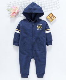 ToffyHouse Full Sleeves Winter Wear Hooded Romper - Blue