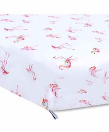 My Milestones Cotton Crib Sheet Storks Print - Pink