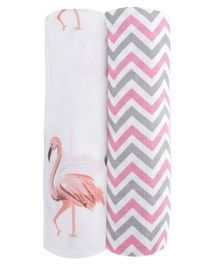 Haus & Kinder Muslin Swaddle Wrappers Chevron & Flamingo Print Pack of 2 - Pink