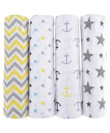 Haus & Kinder Muslin Swaddle Wrappers Star & Dot Print Pack of 4 - White Grey