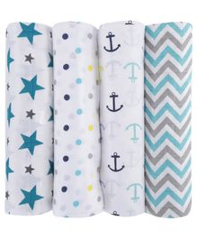 Haus & Kinder 100% Cotton Muslin Swaddle Wrapper Pack of 4 - Blue Grey White