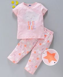 Teddy Half Sleeves Night Suit Star Print - Pink