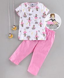 Teddy Half Sleeves Top With Bottom Girl Print - Pink White