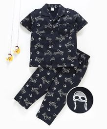 Teddy 100% Cotton Half Sleeves Night Suit Aeroplane Print - Navy blue