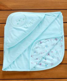 Simply Hooded Baby Towel Bunny Print - Blue