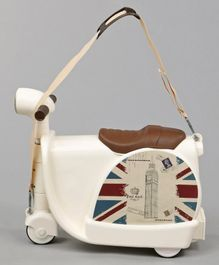 Scooter Shaped Trolley Bag Cum Ride On With Strap - Cream