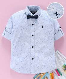 Jash Kids Full Sleeves Floral Printed Cotton Party Wear Shirt With Bow - Sky Blue