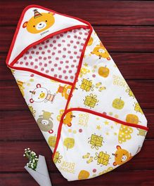 Doreme Hooded Swaddle Wrapper Teddy Print - Red