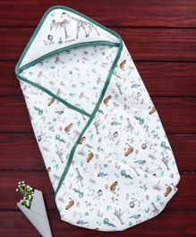 Doreme Hooded Swaddle Wrapper Giraffe Print - Green