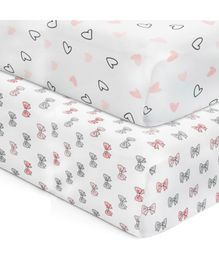 The White Cradle 100% Cotton Crib Sheets With Heart & Bows Print Pack of 2 - Multicolor