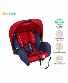 1st Step Car Seat Cum Carry Cot with Thick Cushioned Seat - Red