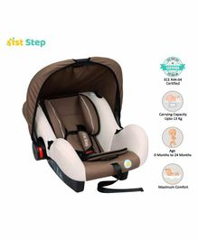 1st Step Car Seat Cum Carry Cot with Thick Cushioned Seat - Brown