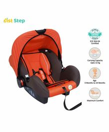 1st Step Car Seat Cum Carry Cot with Thick Cushioned Seat - Orange