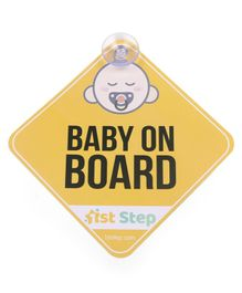 1St Step Baby On Board Sign - Yellow