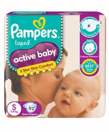 Pampers Active Baby Diapers Small - 92 Pieces