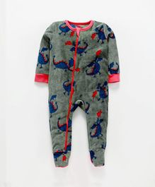Nino Bambino Full Sleeves Dinosaur Print Romper - Dark Grey