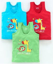 Bodycare Sleeveless Printed Vests Pack of 3 - Green Blue(Print May Vary)