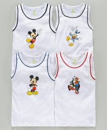 Bodycare Sleeveless Printed Vests Pack of 4 - White(Print May Vary)