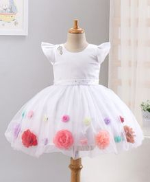 Enfance Colourful Flower Applique Cap Sleeves Flared Dress - White
