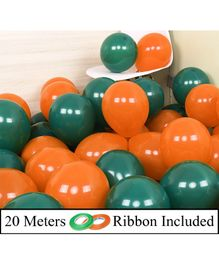 Amfin Metallic Balloons With Ribbons Pack of 52 - Orange & Green