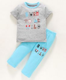 Ohms Half Sleeves Tee and Lounge Pant Text Print - Grey Sky Blue