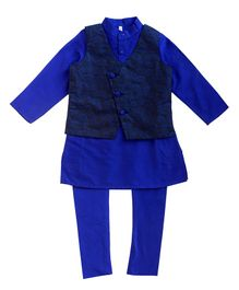 Campana Solid Full Sleeves Kurta With Pyjama & Jacket - Blue