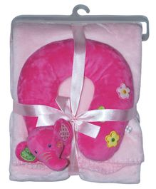 Abracadabra Blanket & Neck Pillow Gift Set - Pink