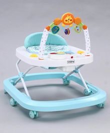 Babyhug Cutewalk Musical Baby Walker with Overhead Toy Arc - Blue
