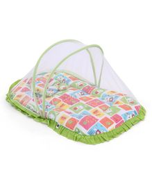 Mee Mee Baby Mattress Set With Mosquito Net And Pillow Multi Print - Green