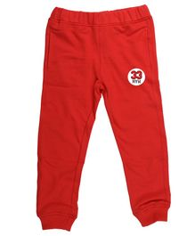 Wear Your Mind Full Length Numerical Detailed Joggers - Red