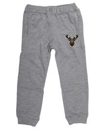 Wear Your Mind Full Length Reindeer Patch Detailed Joggers - Light Grey